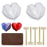 Schokoladen-Herzform, Silikonformen zum Backen in Diamant-Herzform, Kuchenform mit 5 Holzhammer, antihaftbeschichtet, geeignet für Zuhause, Küche, DIY-Werkzeuge